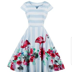 Dresses & Skirts - Pinup flamingo striped dress